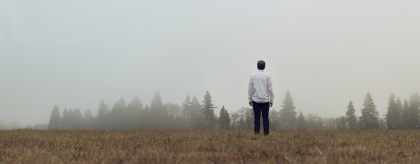 Man alone looking across field at trees in foggy distance.